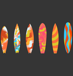 Types of surfboards with a pattern water sports vector