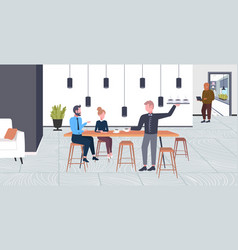 Waiter serving drinks to businesspeople couple man vector