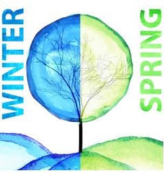 Winter and spring watercolor concept seasonal vector