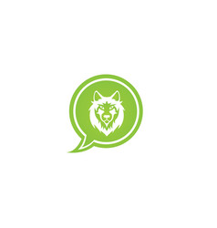Wolf head and face looking in front in a chat vector