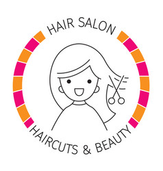 Woman on banner hair salon haircuts and shaves vector