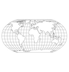 world map in robinson projection with meridians vector image