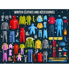 Big collection of cozy winter clothes and winter vector image