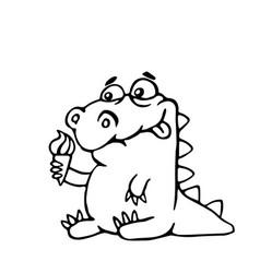 Cute dinosaur with ice cream vector