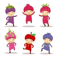Cute kids in fruit costumes Set 2 vector image