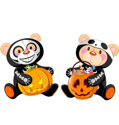 halloween teddy bears vector image vector image