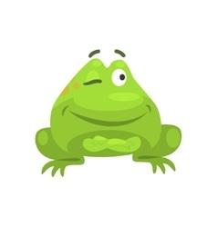 Smug Winking Green Frog Funny Character Childish vector image vector image