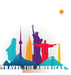 travel the americas paper cut world monuments vector image vector image