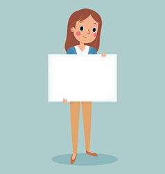 young brunette girl holding blank sign vector image vector image