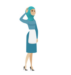 young muslim cleaner scratching her head vector image