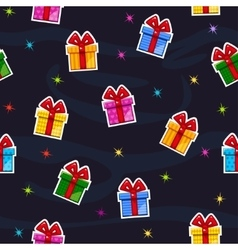 Seamless pattern with Flat gift box sticker vector image vector image