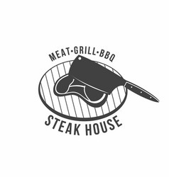 bbq grill and barbecue restaurant logo menu vector image vector image