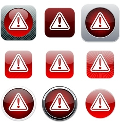 Exclamation sign red app icons vector image vector image