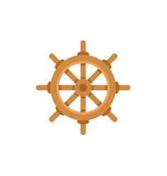 flat cartoon ship sailboat steering wheel vector image