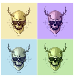 Hipster skulls pop art vector image vector image