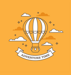 linear air balloon on orange background vector image vector image