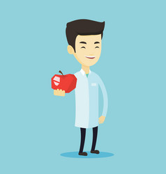 nutritionist offering fresh red apple vector image