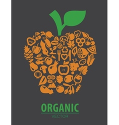organic vegetables and fruits vector image vector image