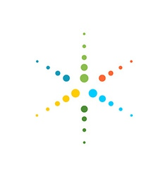 Six rays round particles colorful star logo vector image