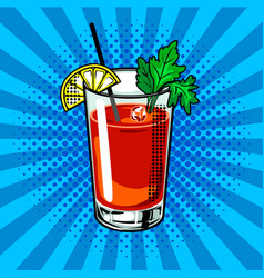 bloody mary cocktail pop art vector image