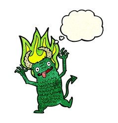 cartoon demon with thought bubble vector image vector image
