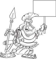 Cartoon Spartan Holding a Sign vector image vector image