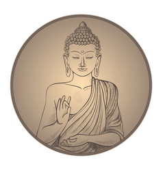 gautama buddha with closed eyes in frame vector image vector image