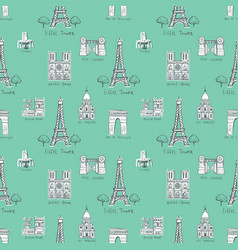 seamless background with symbols of paris vector image vector image