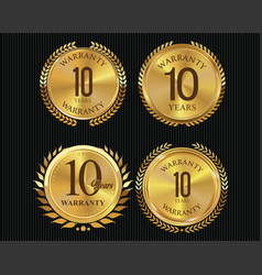 10 years warranty golden labels collection 2 vector