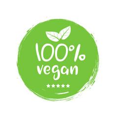 100 percent vegan logo icon vegetarian vector