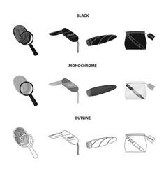 a fingerprint study a folding knife a cigar vector image