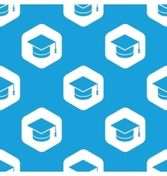 Academic hat hexagon pattern vector