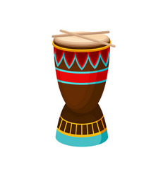 african drum djembe with ethnic ornament vector image