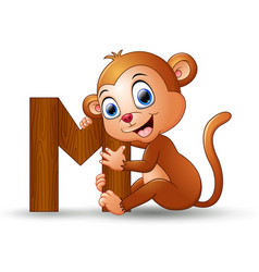 alphabet m with monkey cartoon vector image
