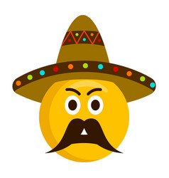 angry emoji with mexican hat vector image