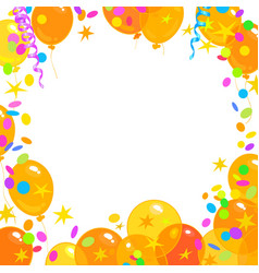 Balloons confetti serpentine frame with place vector