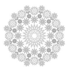 Black and white circular winter mandala snowflakes vector