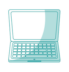 blue silhouette shading laptop computer tech vector image