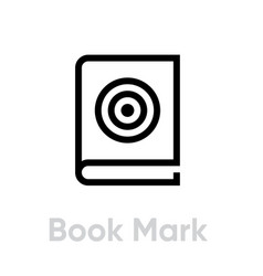 Book mark target icon editable line vector