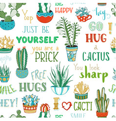 Boundless background of cacti and hand-written vector
