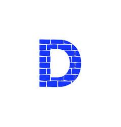 Brick logo letter d vector