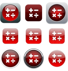Calculate red app icons vector image