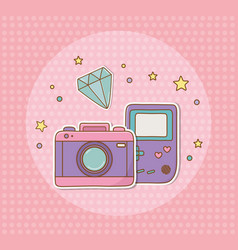 Camera photographic and video game stickers kawaii vector