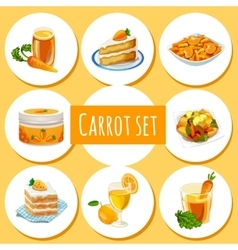 Carrot set eight icons dishes and drinks vector