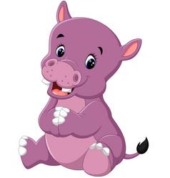 Cartoon cute baby hippo vector