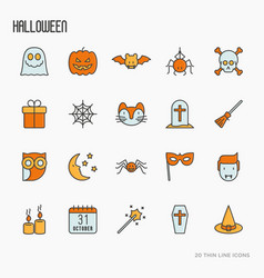 cartoon halloween thin line icons set vector image