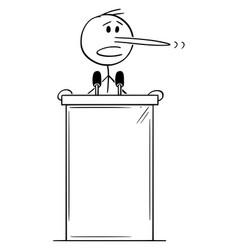 Cartoon lying politician with long nose vector