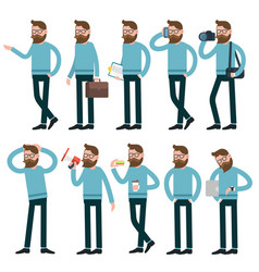 Cartoon men acting with different poses vector
