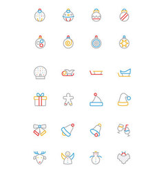 Christmas Colored Outline Icons 2 vector image