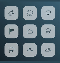 Climate icons line style set with lightning fog vector